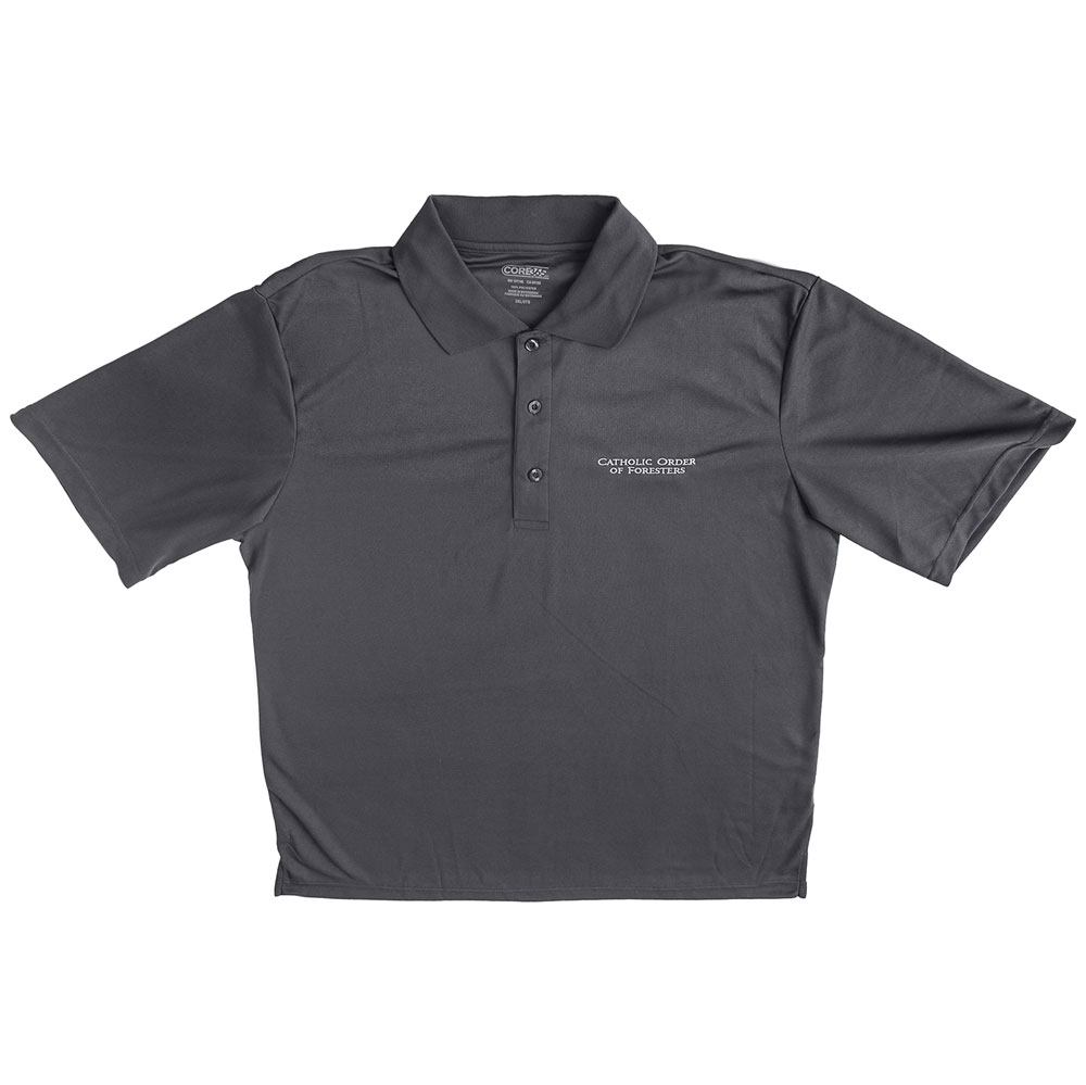 Mens carbon gray polo shirt