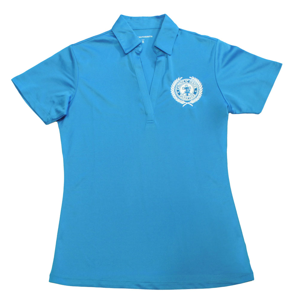 Ladies electric blue polo shirt